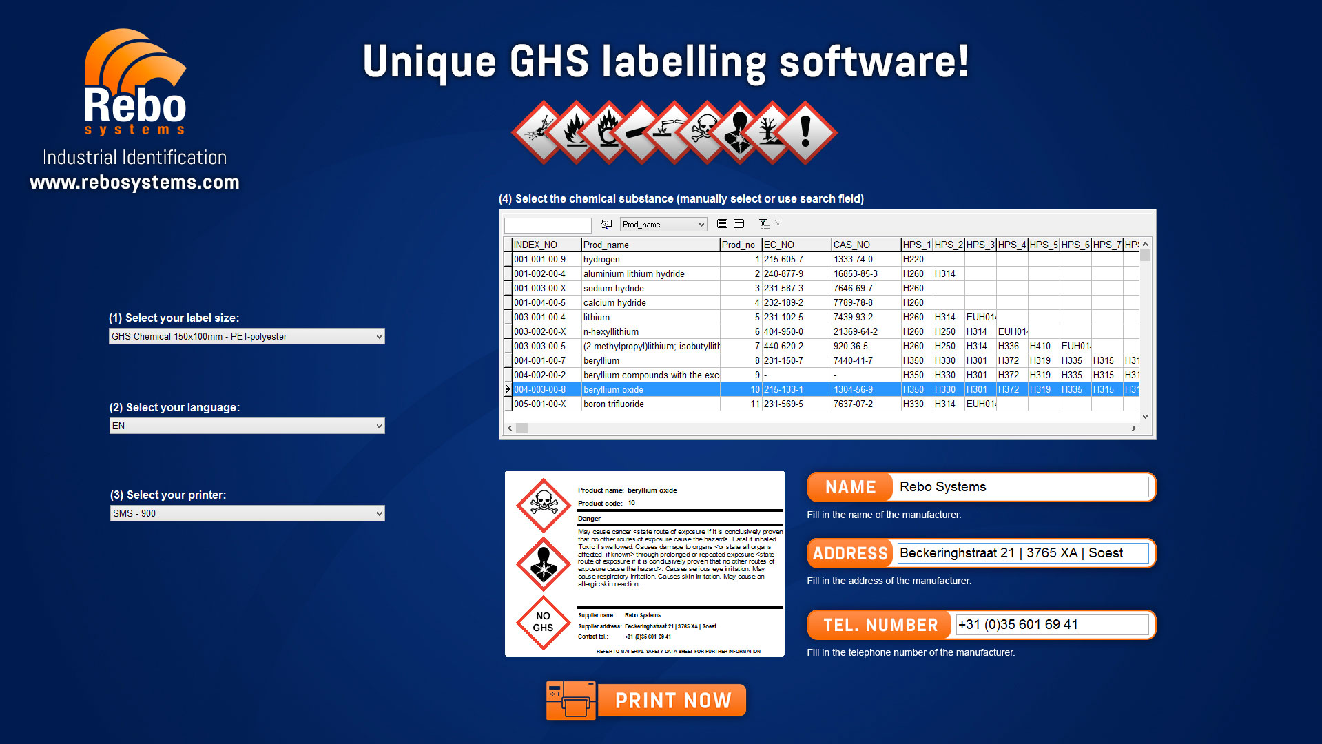 GHS labels & GHS/CLP labelling solutions | Rebo Systems