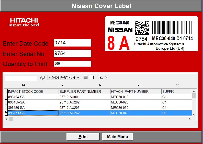 Automotive touch screen labeling application | NiceLabel Powerforms
